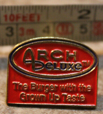 McDonalds Arch Deluxe Hamburger Grownup Employee Collectible Pinback Pin Button