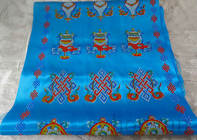 "60"" Long! Tibetan Good Luck Blue Hada Khata Scarf: Eight Treasures Of Buddha"