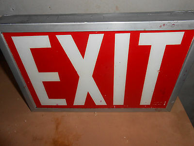 Really Nice  Vintage Metal Lighted Exit Sign Light