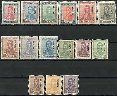 Argentina San Martin Scott#231//46 Incomplete  Mint Hinged Muestra Overprints