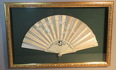 Victorian Silk Brise Fan Hand Painted Peonies & Pierced Carved Cherub Sticks