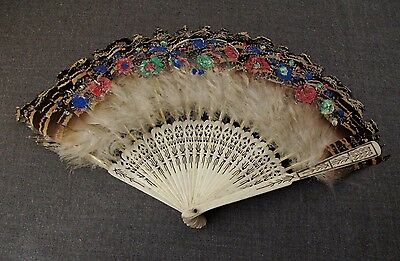 Antique Chinese Filigree Bovine Bone Hand Painted Flower Feathers Brise Hand Fan