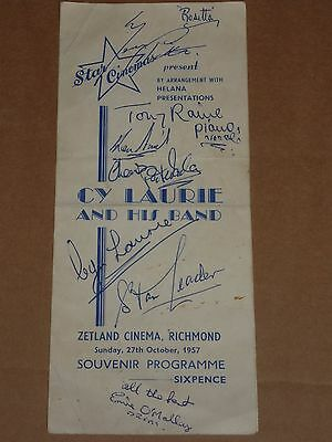 Cy Laurie & His Band 1957 Zetland Cinema, Richmond Programme (Hand Signed)