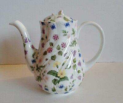 Rosina Queens Country Meadow Tall Coffee Pot Floral Bone China Finial Damage
