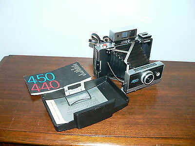 Vintage Polaroid Automatic 450 Folding Instant Land Camera w/Zeiss Finder~Great!