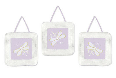 Wall Art Room Decor Hanging Sweet Jojo for Purple Dragonfly Baby Kid Bedding Set