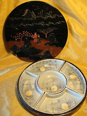 Vtg Japanese Hand Painted Divided Sectional Chip/Dip Bowl/Tray Set w LACQUER BOX