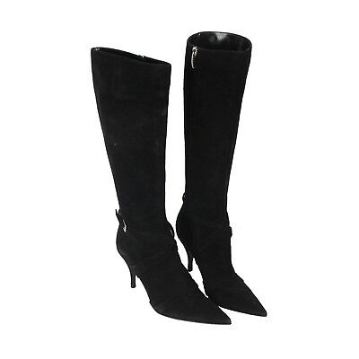 Authentic SERGIO ROSSI Black Suede HEELED BOOTS Shoes SIZE 37