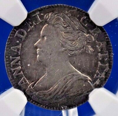 1709 Great Britain UK 3P Three Pence Queen Anne NGC AU 53 Silver Coin