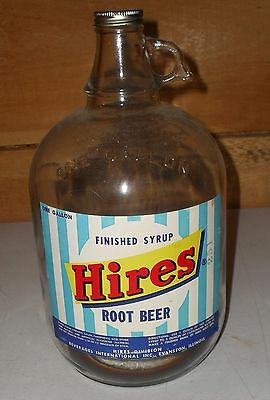 Vintage 1940-50's Hires Root Beer One Gallon Glass Syrup Jug W/ Paper Label