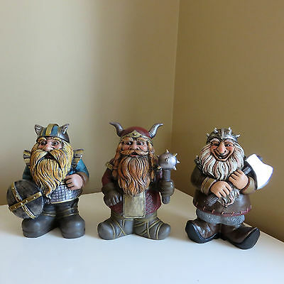 3 VIKING FIGURINES Medieval Garden Design Ornament ONCE UPON A TIME