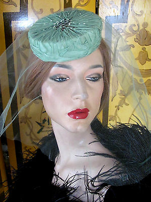 Vintage Green Fabric & Tulle Veil Pillbox Hat 1950s