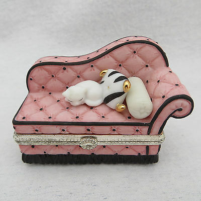 White Cat on Pink Chaise Lounge Hinged Trinket Box Porcelain Surprise Inside