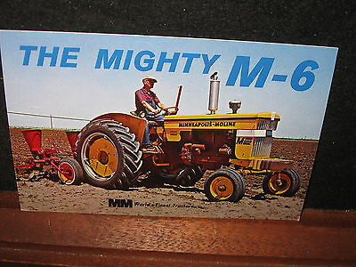 Vintage Minneapolis Moline MM Mighty M-6  Tractor Advertising Postcard Farm