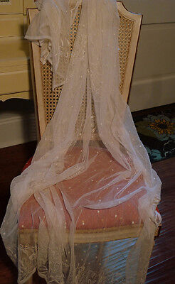 ~Antique Ivory Net Tambour Embr LACE Curtain Panel or Bed Cover~Bleeding Heart~