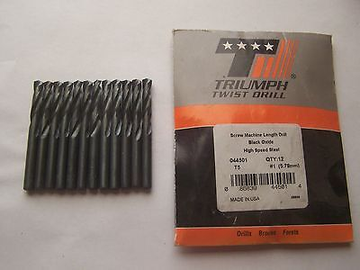 Triumph # 1 Stubby Length Drill Bits 044501 (12 Pieces) Decimal .2280 New