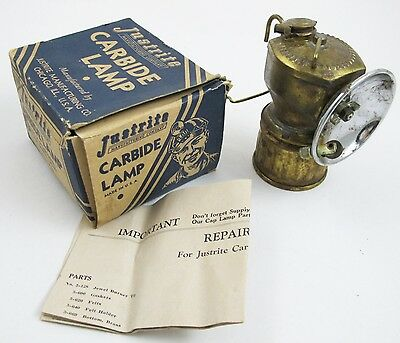 Vintage 1959 JUSTRITE Carbide Lamp 2-810 Brass Light w/ Box & Instructions