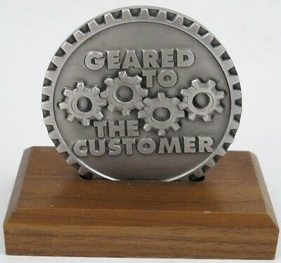 JOHN DEERE Advertising GEARED TO THE CUSTOMER Paperweight Medallion or Plaque