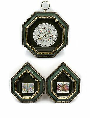 3 Pc Italy Porcelain Wall Clock and Framed Plaques