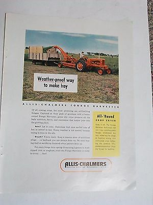 Original 10 x 13 1953 ALLIS-CHALMERS Tractor & forage harvester Ad