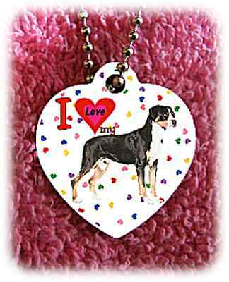 Greater Swiss Mountain Dog heart necklace Swissie background of hearts