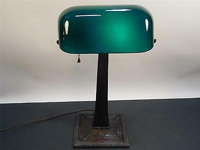 Amazing Antique Green Cased Glass Ornate Base Lawyer's Lamp