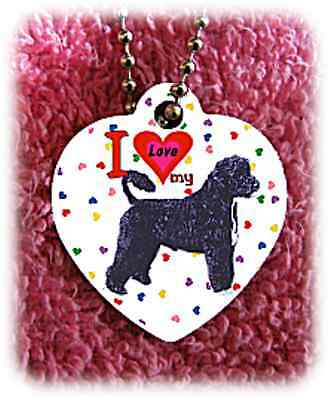 Portuguese Water Dog heart necklace background of hearts