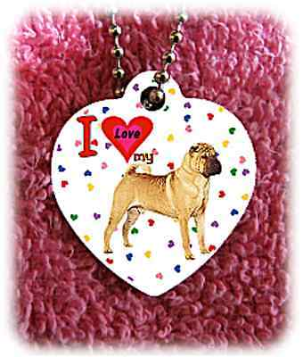 """Shar Pei Dog heart necklace 24"""" chain background of hearts"""