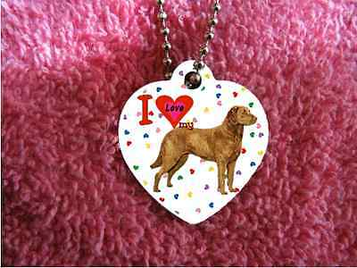 "Chesapeake Bay Retriever heart necklace 24"" chain background of hearts"
