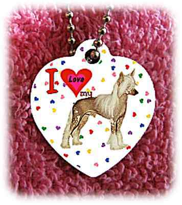 """Chinese Crested dog heart necklace 24"""" chain background of hearts"""