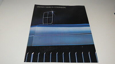 * Lincoln Mark Vi Continental Automobile Foldout Brochure *