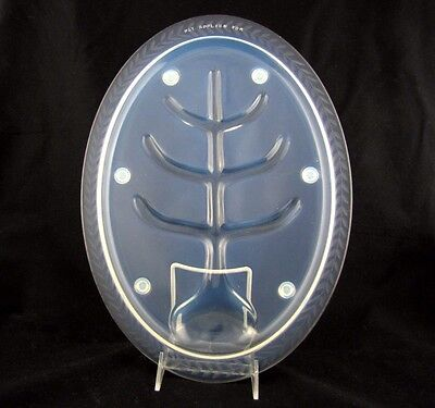 Fry Glass Large Meat Platter with Well and Tree, Leaf Cutting on Rim