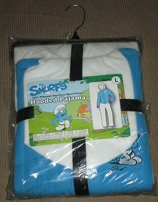 New The Smurfs Large L Sized Hooded Hoodie Pajamas PJS Adult Costume Lazy Fleece