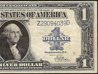 KEY 1923 $1 DOLLAR BILL LARGE SILVER CERTIFICATE WOODS & TATE NOTE Fr 239 VF