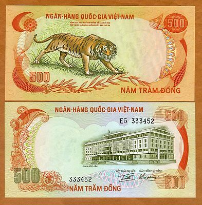 Vietnam South, ND (1972) 500 dong, Pick 33, UNC   Iconic TIGER