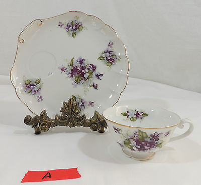 "SWEET VIOLETS 8"" Snack Plate Cup Set by Lefton White Fluted Edge Purple Violet A"