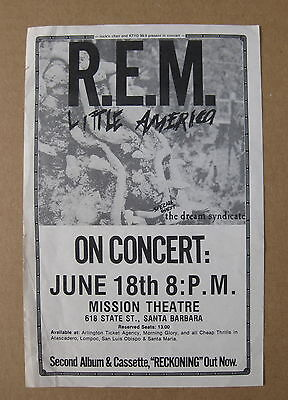 REM Mission Theatre SANTA BARBARA 1984 CONCERT Flyer RECKONING Dream Syndicate