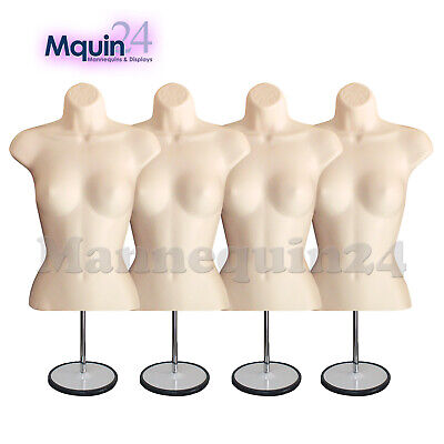 A Lot of 4 Flesh Mannequin Female Torso Forms with 4 Metal Stands + 4 Hangers