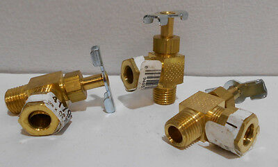 "Lot of 3  Brass Angle Compression Needle Valves 1/4"" NPT X 3/8"" Compression"