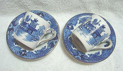 Pair Burleigh ware Burleighware WILLOW Demi Tasse Coffee Can Cups & Saucers