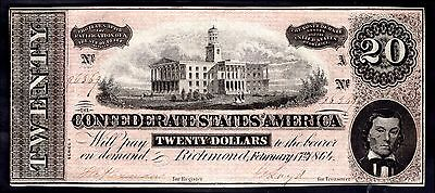 Confederate States, 20 Dollars, 96369. February 17, 1864, Good Very Fine.