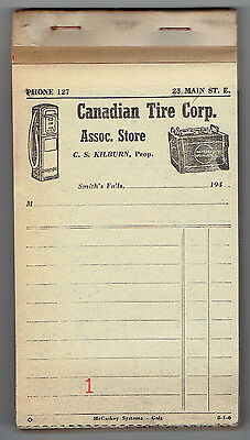 1940's Canadian Tire Corp Assoc Store Bill Book - Smith's Falls, Ontario