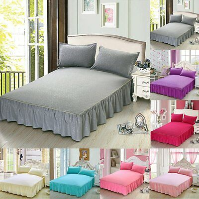 100% Cotton Bedspread Bed Skirt Cover Sheet Full Queen King Size + 2 Pillow Case