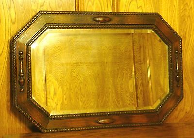 Vintage Beaded Oak Wood Frame Beveled Mirror w/ Spindle & Ellipses Appliques