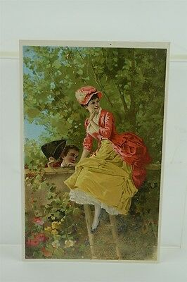Large Antique Atlantic & Pacific Tea & Coffee Co. Victorian Trade Card Courting