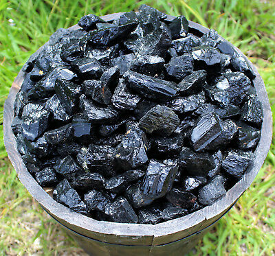 Black Tourmaline Rough Natural Stones 1/2 lb Bulk Wholesale Chakra Crystal Raw