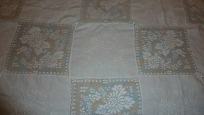 "Antique White Lace & Embroidery Tablecloth Bedspread 67 x 96"" Floral Gorgeous"