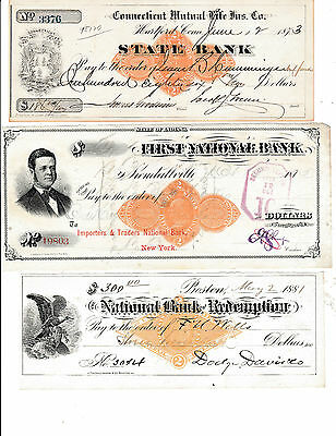 Three (3) Very Old Checks, All Have Vignettes & Revenue Stamps 1873,75 & 81