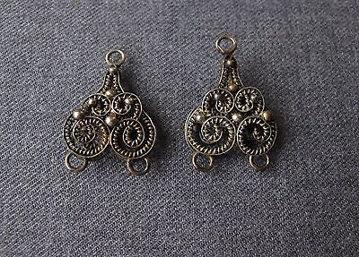 2 Antique Chinese Tribal Filigree Sterling Silver Necklace Beads