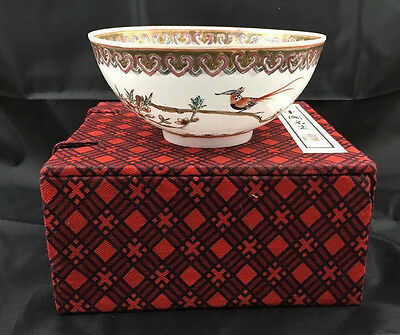 """CHINESE Hand Painted EGGSHELL PORCELAIN Bowl w/ Box - Signed - 4.75"""""""